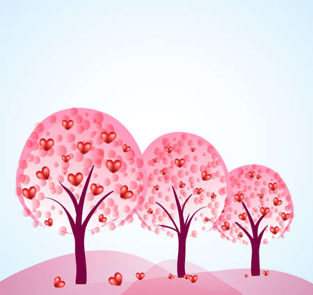 three abstract trees with hearts Stock Vector - 12448814