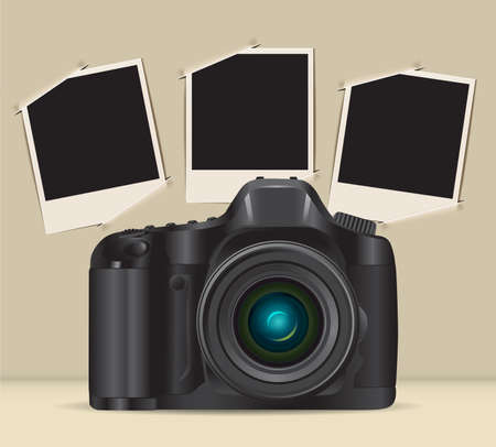 illustration technique: camera and picture frames