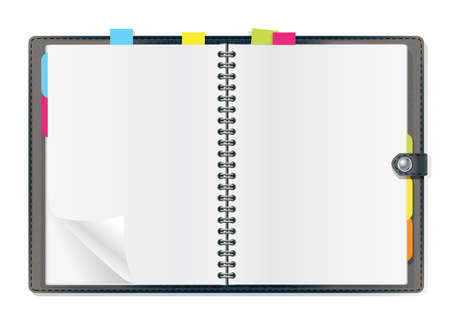 spiral book: open diary on white background