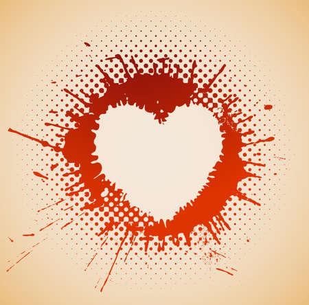 spatters: heart on a grunge spot