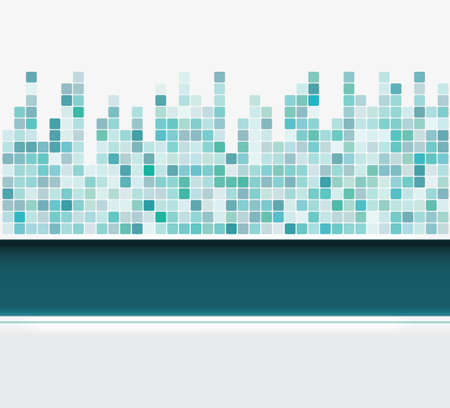 abstract green mosaic square background  Vector