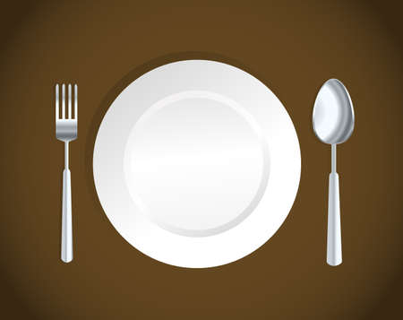white plate,fork and spoon Vector