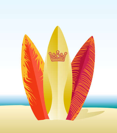 surfboards on beach Vector