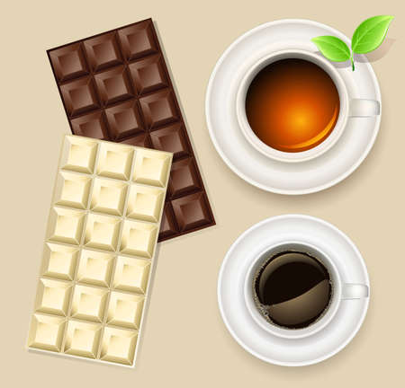 cup of tea and chocolate bar  Vector