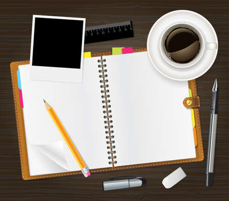 event organizer: open notebook and cup of coffee  Illustration