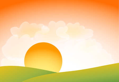 sunset with clouds  Stock Vector - 12448964