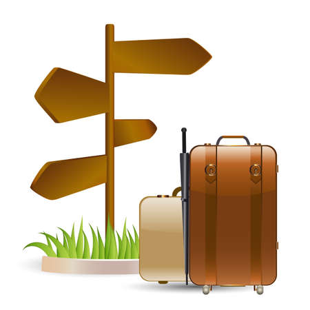 suitcase packing: luggage and wooden sign