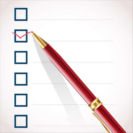 Check mark and pen Stock Vector - 12448959