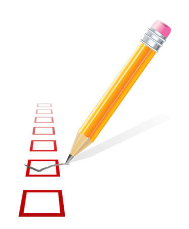 Check mark and pencil  Ilustracja
