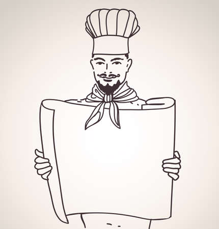 chef with scroll for menu