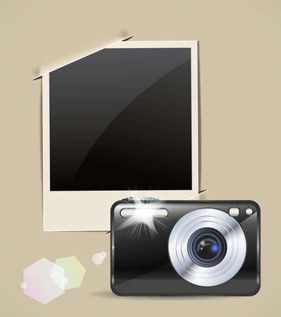 camera and vintage picture frame Vector
