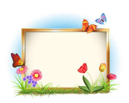zomer: fotolijst met lente bloemen en vlinders