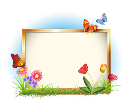 green frame: picture frame with spring flowers and butterflies
