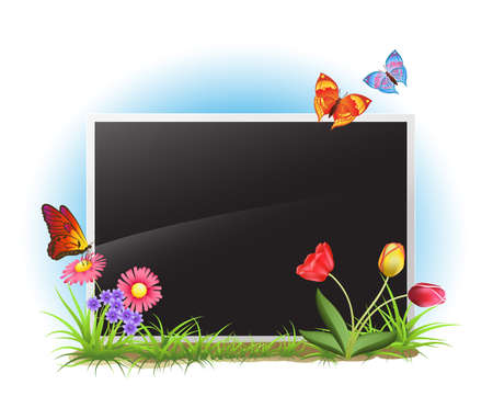 picture frame with spring flowers and butterflies Stock Vector - 12448969