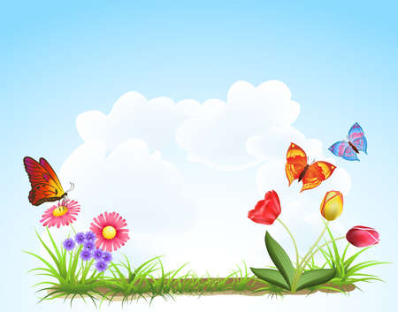 spring landscape with butterfly and flower Stock Vector - 12448977
