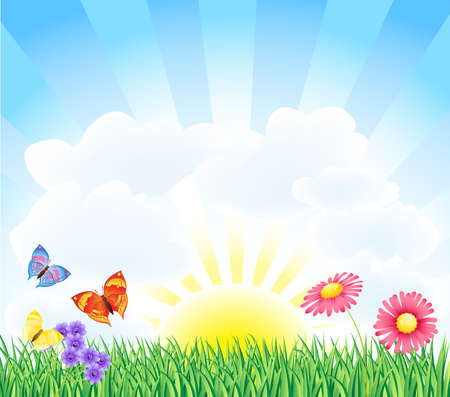 spring landscape with butterfly and flower Stock Vector - 12448968