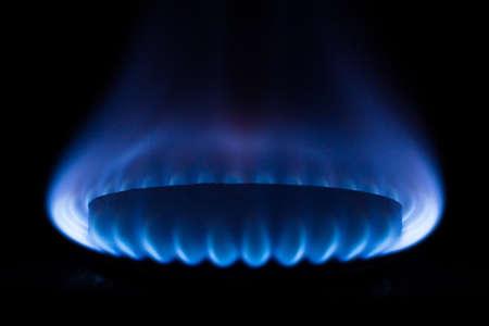 kitchen gas burner on black
