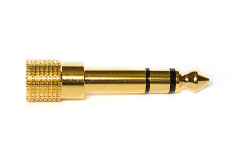 golden jack connector on white background Stock Photo - 12955723