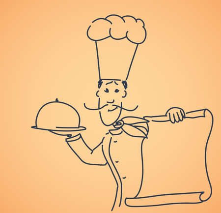 chef with plate and menu Vector