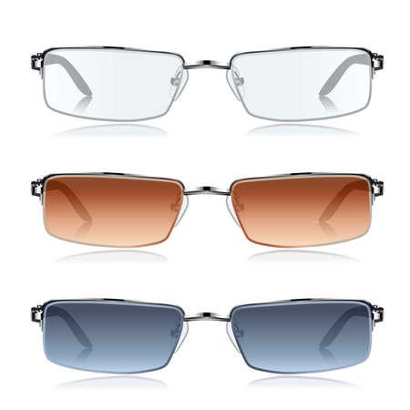 fashion bril: set van de mode bril op wit Stock Illustratie