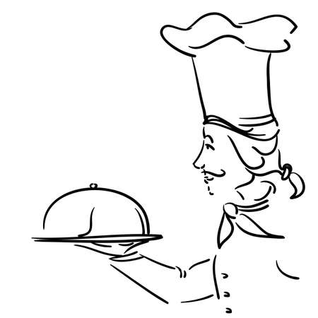hand drawn chef with plate Stock Vector - 13250430