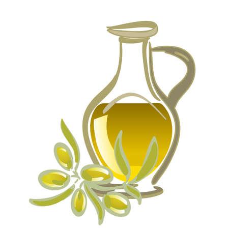 healthy habits: aceite de oliva con aceitunas verdes Vectores