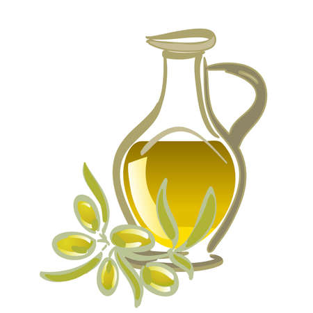 olive oil with green olives Stock Vector - 13250432