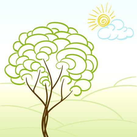 hand drawn childlike landscapenwith tree and sun Stock Vector - 13250433