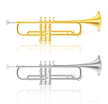 set of golden and silver trumpet Stock Vector - 13351921