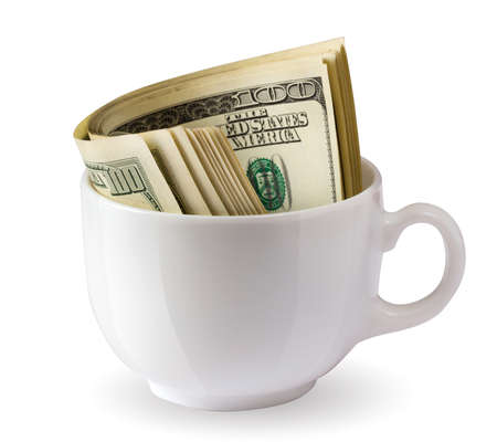 dollars in a cup Stock Photo