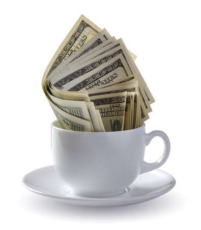 american money: dollars in a cup Stock Photo