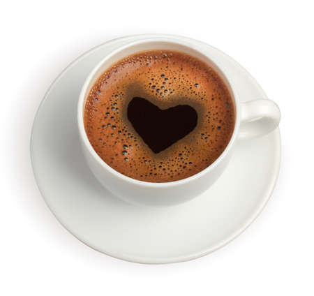 coffee cup isolated: coffe cup with heart Stock Photo