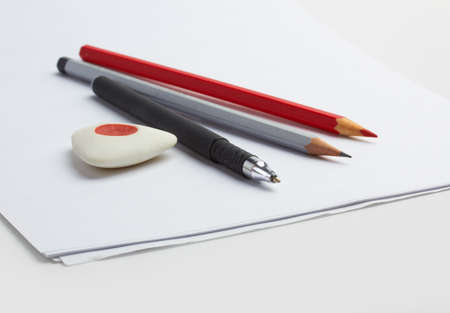 paper, pencil and pen Stock Photo - 14536833