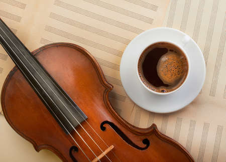 violin background: violin background with coffee cup top view