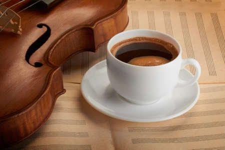 violin background with coffee Stock Photo