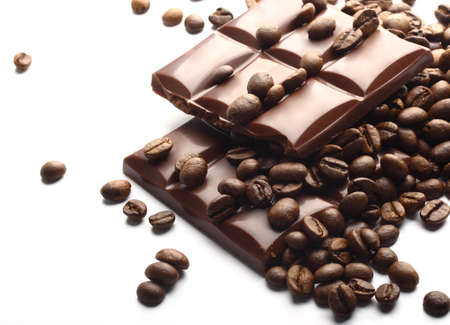 chocolate background: chocolate and coffee beans  Stock Photo
