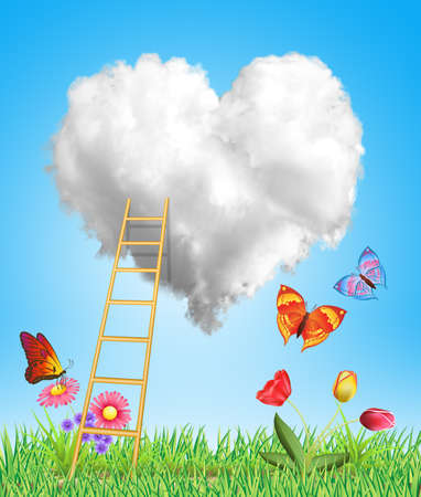 heart cloud with stairs, flowers and butterflies photo