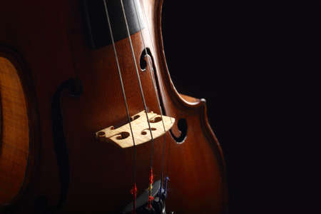 old violin on black background Stock Photo - 17385758
