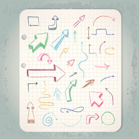 arrows on vintage notepad Stock Vector - 17452788