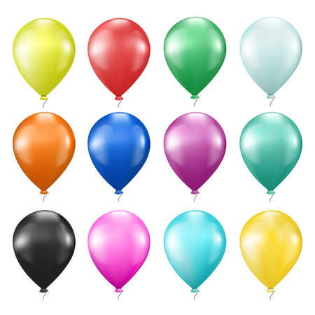 set of colorful balloons on white Stock Vector - 17452762
