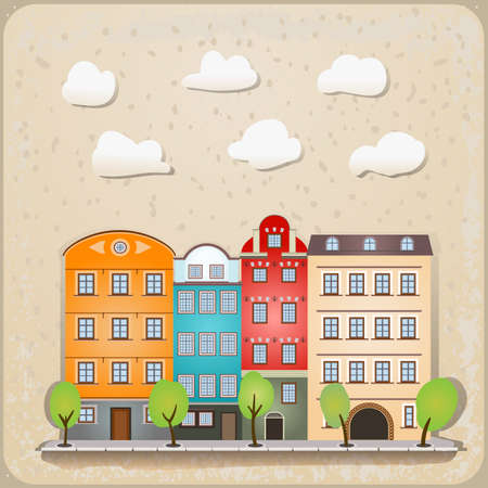 retro houses as vintage urban illustration Stock Vector - 17452777