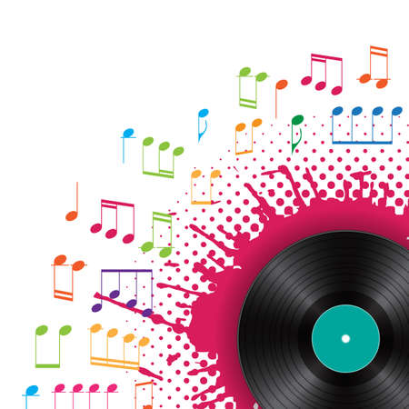 musical background with vinyl- Stock Vector - 17452786
