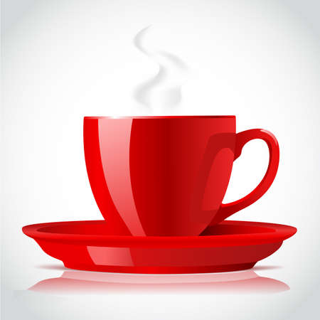 red coffee cup on white Stock Vector - 17452772