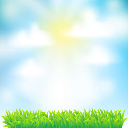 spring background with grass,sky and clouds Stock Vector - 17452793