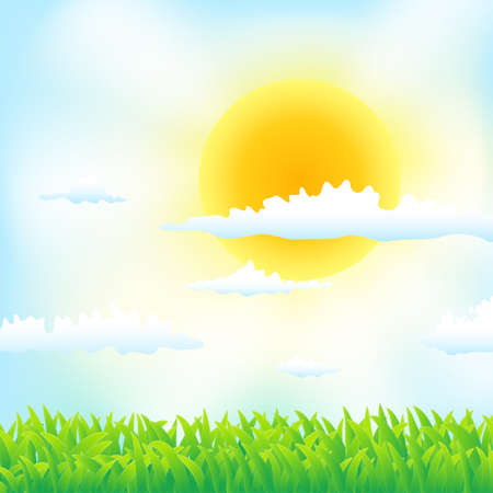 spring background with grass,sun and clouds Stock Vector - 17452771