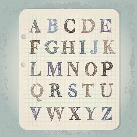 hand drawn abc letters on wintage notepad background Vector