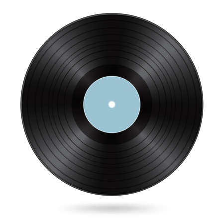 black vinyl disc with cyan blank label Illustration