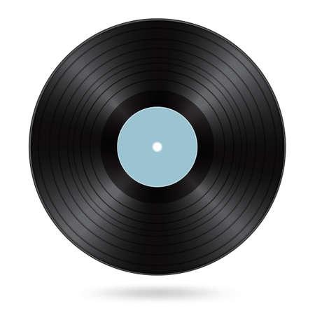 disco in vinile nero con etichetta bianca ciano Vettoriali