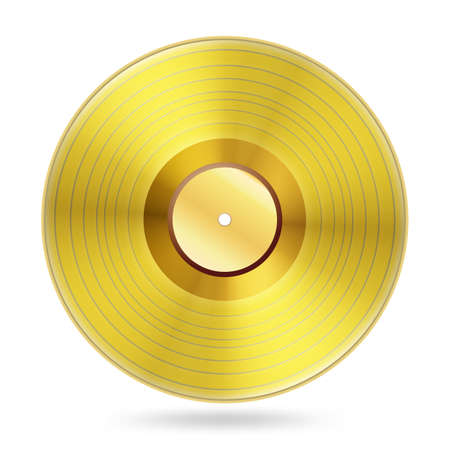 grooves: realistic golden records disc on white Illustration