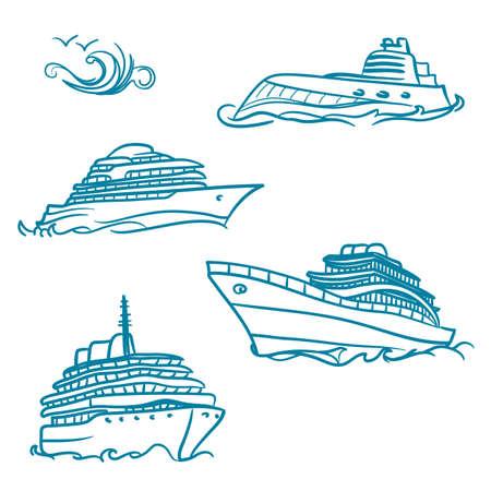 cruise travel: yacht symbols Illustration